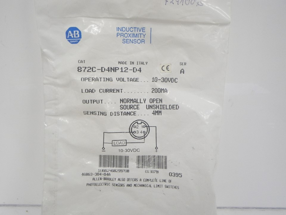 872C-D4NP12-D4 872CD4NP12D4 Allen Bradley Inductive priximity sensor (New in bag) (4)