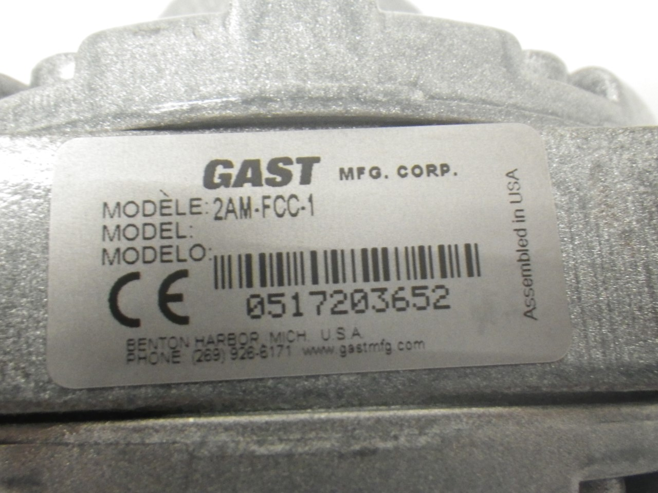 IMGP11832AM-FCC-1 Gast Air Motor (Used Tested) (Very Good Condition) (7)