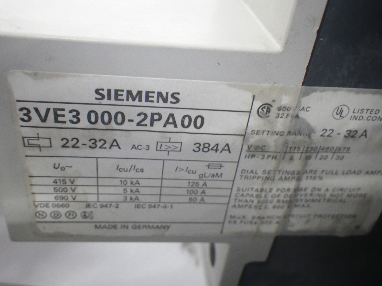 IMGP68893VE3-000-2PA00Siemens 3ve3-000-2pa00 Starter Protector 22-32a (Used Tested) (11)