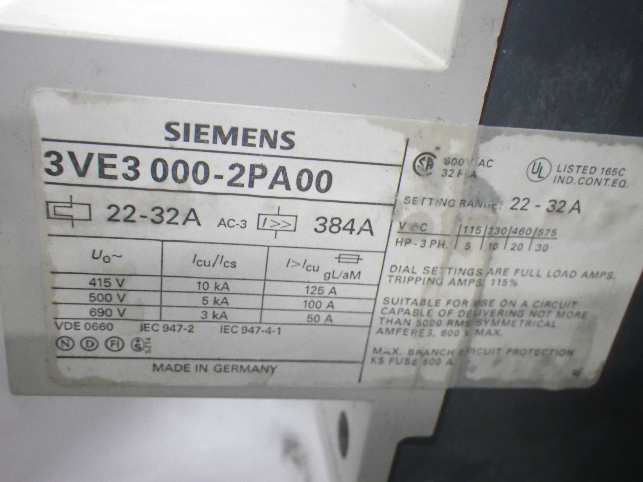 IMGP68893VE3-000-2PA00Siemens 3ve3-000-2pa00 Starter Protector 22-32a (Used Tested) (12)