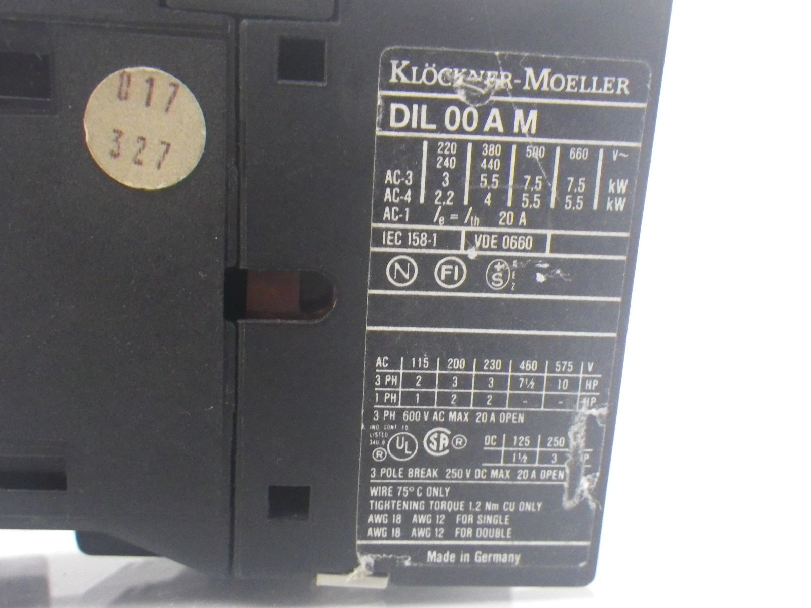 KLOCKNER MOELLER DIL 00 A M DIL00AM contactor *USED AND TESTED*
